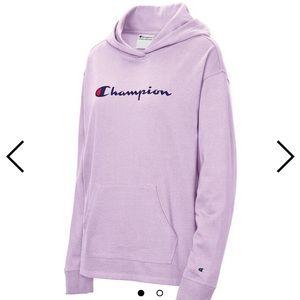 Champion script logo fleece lavender hoodie sizeXL
